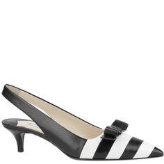 #Prada, black and white sling back kitten heel pumps, from autumn winter 2013. http://www.wunderl.com