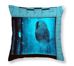 Fingerprint Evidence Crime Scene- Decorative Throw Pillow - Crime Scene Photography - Forensic Science - Dexter CSI - Cushion - Customised