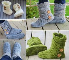 Crochet Snow Slipper Boots Free Pattern                                                                                                                                                      More