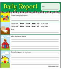 Preschool Daily Report Pdf Version  January