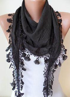 Black Silky Scarf with Black Trim Edge