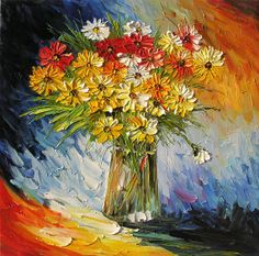 In Love  24 x 24 Original Oil Painting By Marchella Bouquet Vase Flowers Still Life Daisies Colorful Yellow Blue. $169.00, via Etsy.