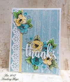 Thanks by bearpaw - Cards and Paper Crafts at Splitcoaststampers The Ton Stamps, Altenew Cards, Sending Hugs, Paint Cards, Mft Stamps, Watercolor Cards, Creative Cards, Vintage Flowers, I Card