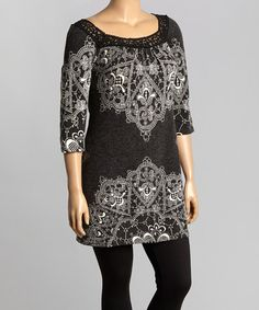 This Black & White Filigree Lace-Collar Sweater Dress - Plus by Aryeh is perfect! #zulilyfinds