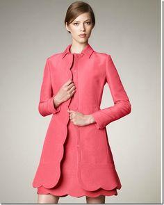 valentino scalloped-trim coat and dress