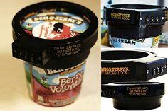 """Para todas las que gastan un poquito más y se compran los tarros de helado importado... estos candado son un 10. Ningún hermano, hijo o marido podrán """"robarnos"""" una cucharada sin nuestro permiso. Foto:bemlegaus.com"""