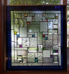 Dichroic Fantastica Stained Glass Window Panel Geometric Abstract EBSQ #StainedGlassBathroom