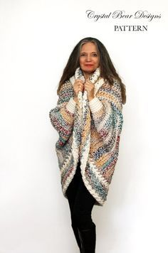 Ravelry: Luxe Oversized Shrug pattern by Bernadette ProkopetzCrochet Shrug PATTERN / Oversized Cardigan Sweater / Chunky Knitwear /Made in Canada / Luxe Oversized ShrugLuxe Oversized Shrug Pattern Pattern No. 069 Crochet this super comfy oversized… Crochet Shrug Pattern, Crochet Jacket, Chunky Crochet, Crochet Cardigan, Knit Or Crochet, Shrug Sweater, Crochet Scarves, Crochet Shawl, Crochet Clothes
