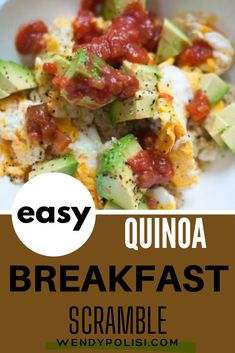 Start your day right with this Quinoa Breakfast Scramble.  This healthy savory recipe is SO EASY to make.  With just a handful of ingredients, it is perfect for busy mornings.  Quinoa breakfast recipes don't get any better than this.  #breakfastbowl #quinoabowl #wendypolisi #quinoabreakfast #quinoarecipes Gluten Free Recipes For Breakfast, Gluten Free Breakfasts, Quinoa Breakfast, Breakfast Bowls, Making Quinoa, Quinoa Bowl, Egg Dish, Stuffed Peppers, Dishes