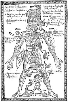 Epilogo en medicina y cirurgia, Juan de Burgos, 1495. Shows which parts of the body are affected by which signs of the zodiac