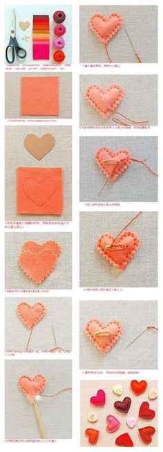 Felt hearts step by step Valentine Day Crafts, Holiday Crafts, Fun Crafts, Crafts For Kids, Arts And Crafts, Valentines, Diy Projects To Try, Sewing Projects, Heart Diy