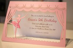 Gorgeous Ballerina themed party invite