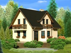 DOM.PL™ - Projekt domu Dom przy Kalinowej 2 CE - DOM EB2-77 - gotowy projekt domu Cabin Floor Plans, House Plans, Exterior Design, Interior And Exterior, Bars For Home, Home Fashion, Bungalow, Sweet Home, New Homes