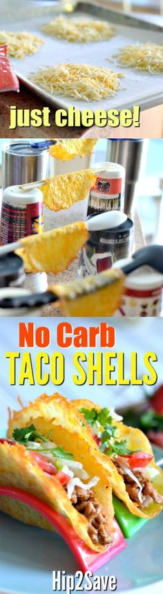 Learn how to make these NO CARB taco shells using just shredded cheese! They are SO yummy!