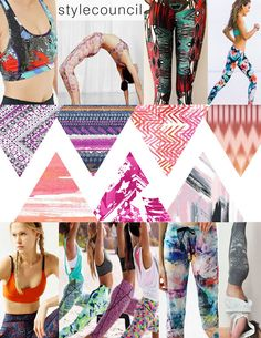 Style Council : Fashionably Fit - Adding the right pattern to any sports bra or legging brings movement to this energized look. From a knit to neoprene our prints look good on any workout stretch.