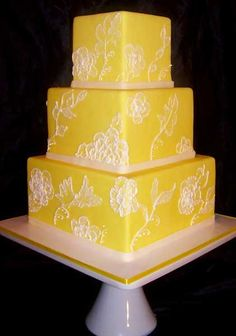 Yellow is so vibrant! And I love doing brush embroidery...the cake artist who did this one is very good!