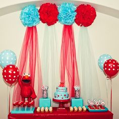 elmo birthday ideas -  did this, brought in the teal and polka dots into the Elmo theme for Sweet Pea to make it a little more girly :). Adorable!