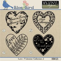 DIGITAL DOWNLOAD ... Valentine vectors in AI, EPS, GSD, & SVG formats @ My Vinyl Designer #myvinyldesigner #bluebird