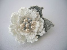 Hand Crochet Beaded Anchor Cotton Corsage Brooch by CraftsbySigita,   www.etsy.com/shop/CraftsbySigita