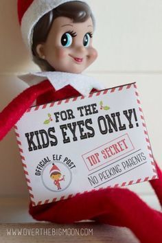 Get this FREE Elf on the Shelf Mission Impossible Envelope and Note Printables. See 15 FUN Elf on the Shelf FREE Printables on www.prettymyparty.com.