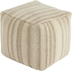 Signature Design by Ashley Stripped Pouf Beige A1000446 | LampsUSA