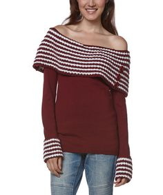 9924726d0f5 Another great find on  zulily! Wine  amp  White Button Off-Shoulder Sweater