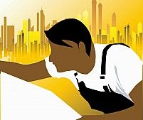 Illustration of silhouette of an architect making his planning in work site