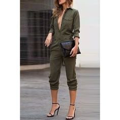 Missy K's End Of The Year Online Shopping Spree Via @SammyDress Follow Me At Pinterest/MissyKsCloset Stylish Shirt Collar Long Sleeves Single-Breasted Jumpsuit For Women