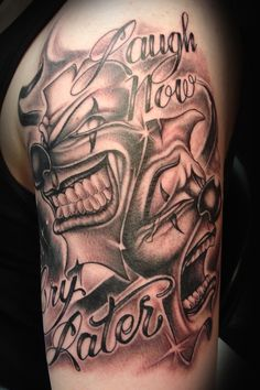 What does clown tattoo mean? We have clown tattoo ideas, designs, symbolism and we explain the meaning behind the tattoo. Clown Face Tattoo, Evil Clown Tattoos, Mask Tattoo, Jester Tattoo, Tattoo Art, Gangster Tattoos, Gangster Gangster, Latest Tattoo Design, Tattoo Designs Men