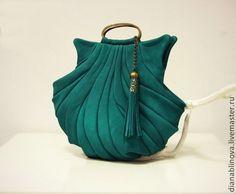 """Купить """"Ракушка винтаж"""" - морская волна, однотонный, сумка женская, сумка ручной работы"""