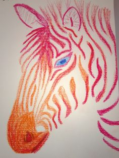 Zebra in oil pastels inspired by painting seen on Pinterest.