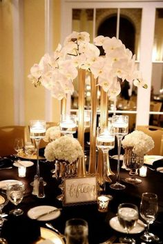 [orginial_title] – Dallas event floral 6 Awesome Vintage Wedding Theme Ideas to Inspire You Modern great gatsby styled elevated centerpiece ideas Great Gatsby Wedding, Gatsby Theme, Vintage Wedding Theme, Art Deco Wedding, Wedding Themes, Gold Wedding, Wedding Designs, Wedding Table, Wedding Flowers