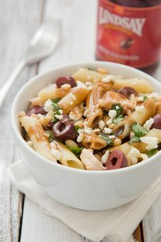 Chicken Pasta Salad with Feta, Lindsay Olives, and Balsamic Vinaigrette on http://www.theculinarylife.com/2014/chicken-pasta-salad-with-feta-lindsay-olives-and-balsamic-vinaigrette/