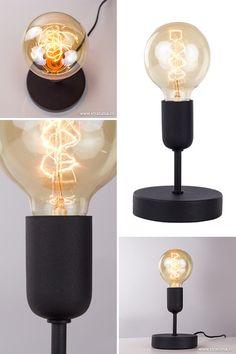 De moderne tafellamp woonkamer zwart staat of valt bij de keuze van de lichtbron. Kies voor een sfeervolle vintage kooldraadlamp en de tafellamp is een plaatje! De mat zwarte uitvoering met de decoratieve lichtbron geeft een vintage-industrieel tintje aan deze moderne tafellamp. Erg mooi is de zwarte tafellamp op uw nachtkastje of dressoir. #straluma #verlichting #zwart #scandinavisch #modern Sweet Home, Lighting, Home Decor, Creative Lamps, Creativity, Hipster Stuff, Accessories, Decoration Home, House Beautiful