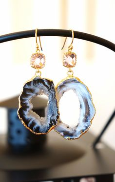 Sparkling Starry Night Geode Druzy Earring  Black  by VintagePinch #etsy #musthave #want #need #bridal #fblogger #blog #blogger #fashionblog #fashionblogger #anthro #anthropologie #latina #style #weddingblogger #weddings #instyle #vogue #mystyle #nyblogger #bostonblogger #handmade #texasblogger #whatiwore #teacherstyle