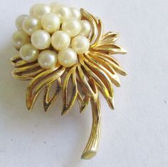 TRIFARI Pearl Flower Brooch Crystals Gold Tone Vintage Pin by UnderTheBaobobTree on Etsy