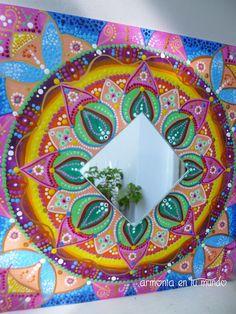 "Mandala ""Alegría"" Acrílico sobre madera, con espejo 35 x 35cm Fernanda M.Balbi"