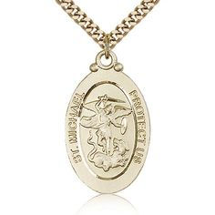 American Heroes Fine 10k Rose Gold St Michael Medal Protection Charm US Navy Reversible Pendant Necklace