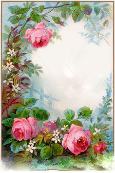 ideas for flowers vintage decoupage art Vintage Rosen, Vintage Diy, Vintage Labels, Vintage Cards, Vintage Paper, Vintage Style, Images Vintage, Vintage Pictures, Molduras Vintage