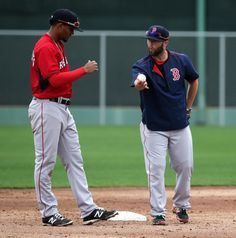 Fort Myers, FL - 02/26/15 - Boston Red Sox shortstop Xander Bogaerts (2) worked with Boston Red Sox second baseman Dustin Pedroia (15) on turning the double play. Red Sox Spring Training. (Barry Chin/Globe Staff), Section: Sports, Reporter: Peter Abraham, Topic: 25Red Sox, LOID: 8.0.2826364469.