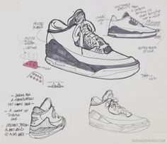 Concepts for the Air Jordan These sketches allowed Tinker to tinker with his designs to make them better and also edit them after the prototype had been tested. Shoe Sketches, Disney Sketches, Jordans Girls, Air Jordans, Sneakers Sketch, Shoe Room, Tinker Hatfield, Art Assignments, Shoes