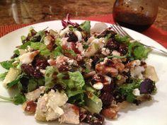Harvest Turkey Salad with Cherry Vinaigrette - Panera Bread copycat recipe - great way to use up leftover Thanksgiving turkey! #turkey