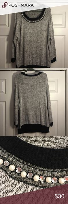 Black and gray sweater Gray sweater with black lining on sleeve and hem. Has a pearl and rhinestone design along collar. Sweaters Crew & Scoop Necks