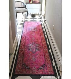 Brighten up your entryway with a colorful runner! This reminds me of a rug my grandma used to have all over her house Up House, My New Room, My Dream Home, Apartment Living, Home Decor Inspiration, Decoration, Home And Living, Home Accessories, Home Goods