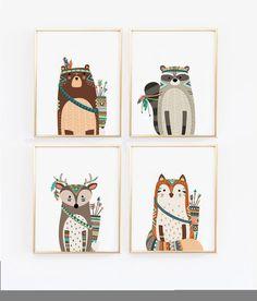 Bosque Animal Print vivero arte estampados por wallandwonder