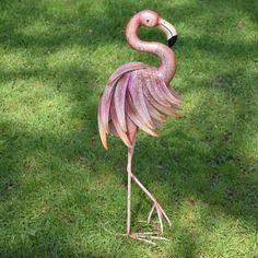 Haal de Cariben naar je tuin met deze leuke flamingo van metaal. Mooi Landelijk tuindecoraties en accessoires