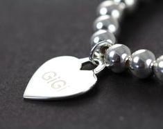 Custom Engraved Heart Pendant Bead Bracelet, 925 Sterling Silver Custom Made Jewelry by Shiny Little Blessings.