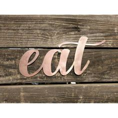 Kitchen Sign Eat Sign Metal Eat Sign Farmhouse Wall Decor Metal Words... ($18) ❤ liked on Polyvore featuring home, home decor, wall art, home & living, kitchen & dining, kitchen décor, white, personalized outdoor signs, textured painting and white metal wall art
