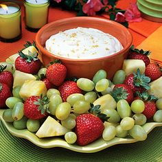 Brown Sugar Fruit Dip - Make-Ahead Recipes for the Spring Baby Shower You're Hosting - Southernliving. Recipe: Brown Sugar Fruit Dip This quick and easy dip is perfect accompaniment for the season's fresh fruits. Best Party Appetizers, Finger Food Appetizers, Easy Appetizer Recipes, Appetizer Dips, Dip Recipes, Fruit Recipes, Easy Recipes, Fruit Appetizers, Fruit Dips