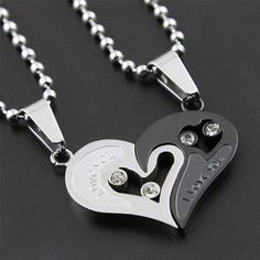 """New Romantic """"Have Mutual Affinity"""" Heart Titanium Steel Lover Necklace - March 02 2019 at Couple Necklaces, Couple Jewelry, I Love Jewelry, Fine Jewelry, Heart Necklaces, Jewelry Necklaces, Couple Bracelets, Cartier Jewelry, Steel Jewelry"""